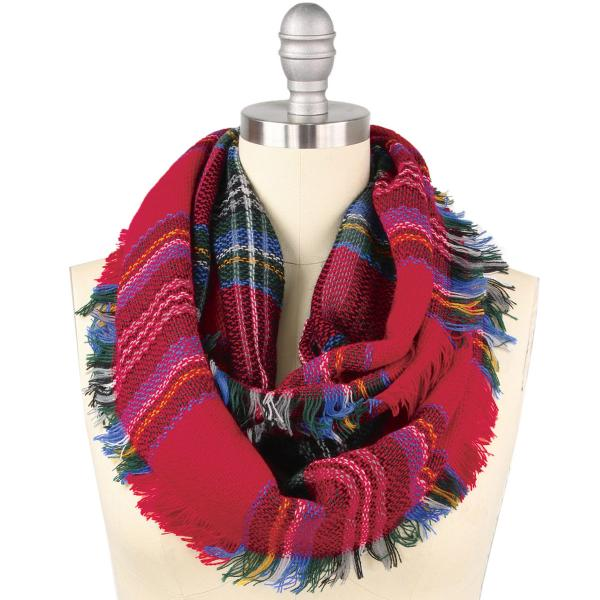 wholesale Infinity Scarves - Woven Plaid 8737 8435/8628 8435 Red Multi Woven Plaid Infinity w/ Self Fringe -