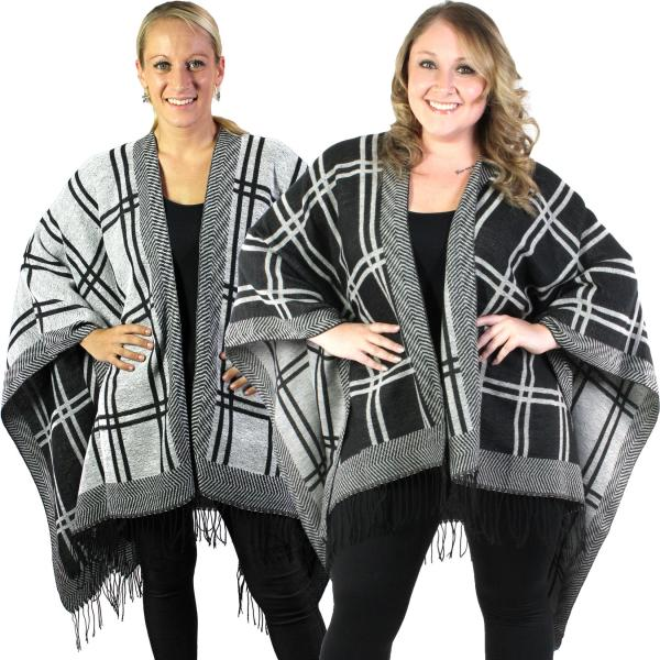 wholesale C Ruana Capes - Reversible Block Design 313 Black-White -