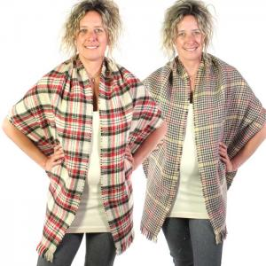 wholesale C Shawls - Reversible Plaid to Check 14092 Beige -