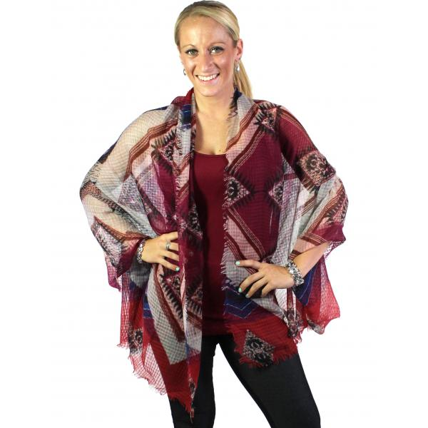 wholesale Big Scarves/Shawls - 1397 Red Wine -