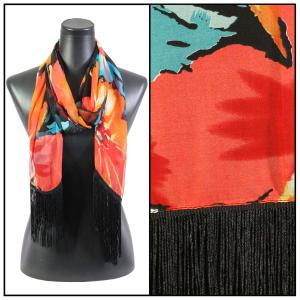 wholesale Silky Dress Scarves w/ Fringe 007 - Hibiscus Black -