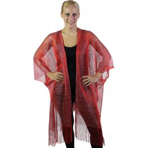 wholesale Ruana Capes - Fishnet Metallic 6601 Red -
