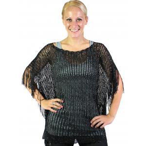 wholesale Poncho - Fishnet Metallic 6604 & 6608 Black (#08) -