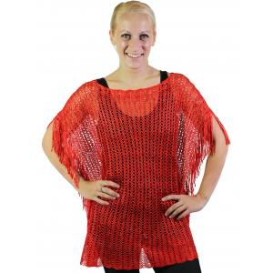wholesale Poncho - Fishnet Metallic 6604 & 6608 Red (#11) -