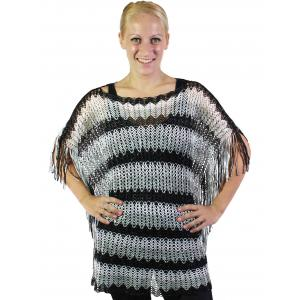 wholesale Poncho - Fishnet Metallic 6604 & 6608 Black-Grey-White Horizontal Stripe -
