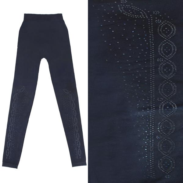 Wholesale Jeweled Leggings #09 Navy w/ Navy Jewels - One Size Fits All
