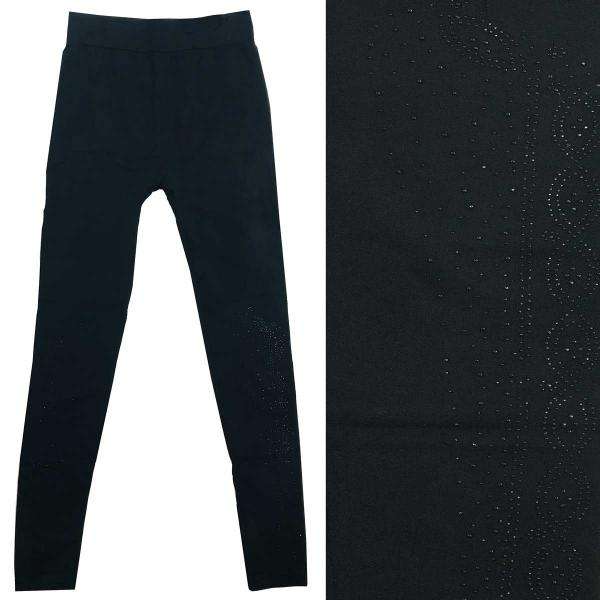 Wholesale Jeweled Leggings #09 Black w/ Black Jewels - One Size Fits All