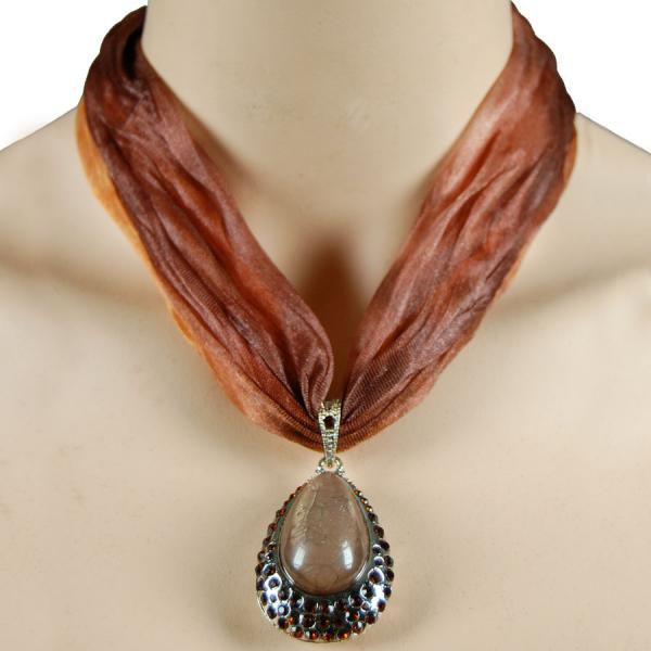 wholesale Tie Dye Scarf Necklace LN4756 Brown -