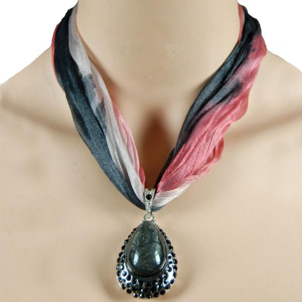 wholesale Tie Dye Scarf Necklace LN4756 Black -
