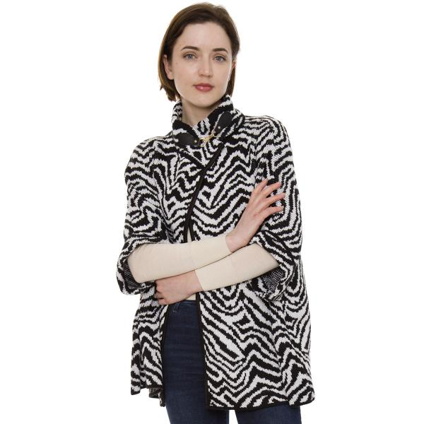 Knitted Cloak - JP511, JP992, & JP1493 JP1493 - Zebra Black-White -