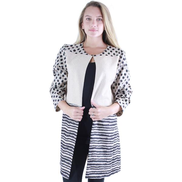 wholesale Art Crush - Swing Jacket Polka Dot/Stripe - Beige -