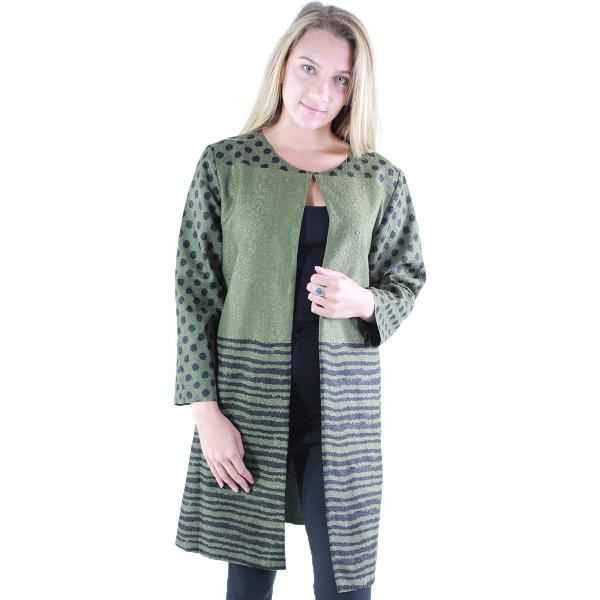 wholesale Art Crush - Swing Jacket Polka Dot/Stripe - Olive -