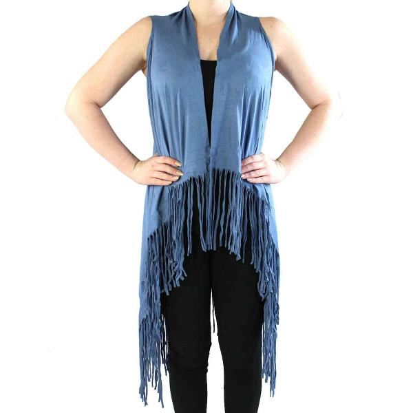 wholesale Vests - Solid Rayon w/ Fringe SN131 Blue -
