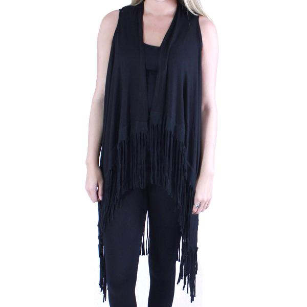 wholesale Vests - Solid Rayon w/ Fringe SN131 Black -