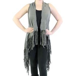 Vests - Solid Rayon w/ Fringe SN131 Grey -