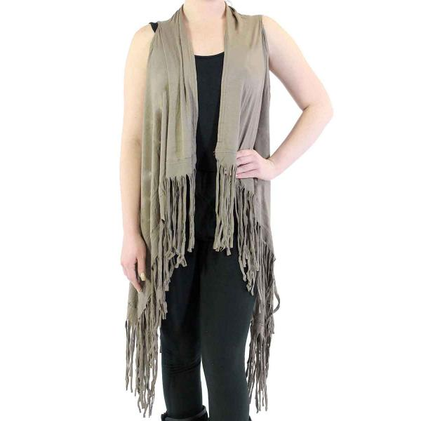 wholesale Vests - Solid Rayon w/ Fringe SN131 Tan -
