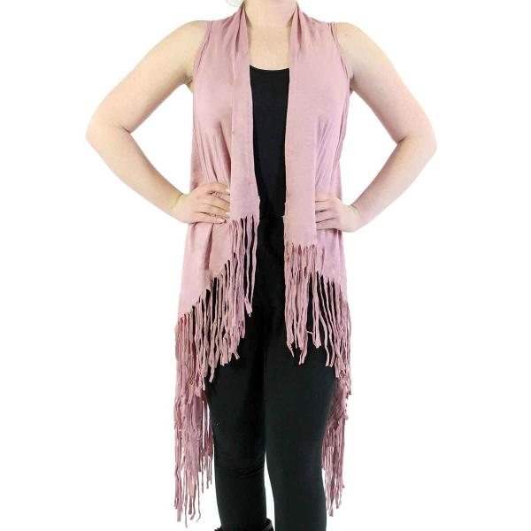 wholesale Vests - Solid Rayon w/ Fringe SN131 Pale Pink -