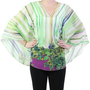 wholesale Silky V-Neck Poncho #008 Green Silky V-Neck Poncho -