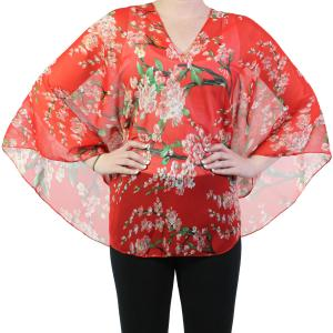 wholesale Silky V-Neck Poncho #009 Red Silky V-Neck Poncho -
