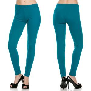 wholesale Brushed Fiber Leggings - Ankle Length Solids SOL0S Teal Brushed Fiber Leggings - Ankle Length Solids - One Size Fits All