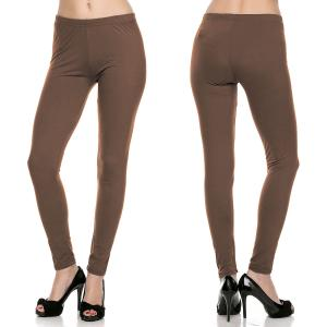 wholesale Brushed Fiber Leggings - Ankle Length Solids SOL0S Mocha Brushed Fiber Leggings - Ankle Length Solids - One Size Fits All
