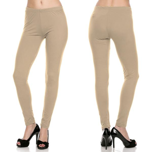 Brushed Fiber Leggings - Ankle Length Solids SOL0S Beige Brushed Fiber Leggings - Ankle Length Solids - Plus Size (XL-2X)
