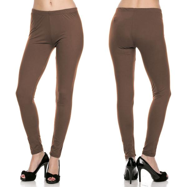 Brushed Fiber Leggings - Ankle Length Solids SOL0S Mocha Brushed Fiber Leggings - Ankle Length Solids - Plus Size (XL-2X)