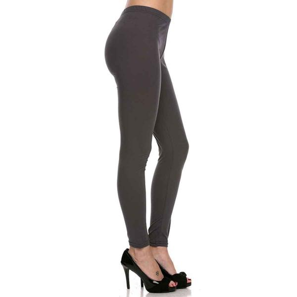 Brushed Fiber Leggings - Ankle Length Solids SOL0S Charcoal Brushed Fiber Leggings - Ankle Length Solids - Plus Size (XL-2X)