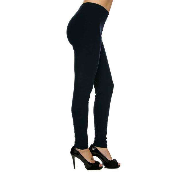 Brushed Fiber Leggings - Ankle Length Solids SOL0S Navy Brushed Fiber Leggings - Ankle Length Solids - Plus Size (XL-2X)