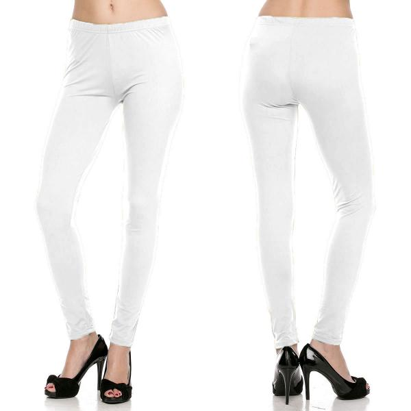 Brushed Fiber Leggings - Ankle Length Solids SOL0S White Brushed Fiber Leggings - Ankle Length Solids - Plus Size (XL-2X)