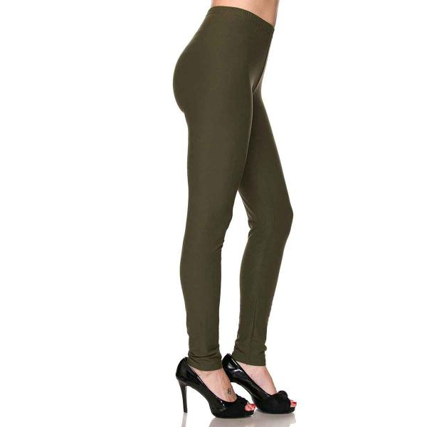 Brushed Fiber Leggings - Ankle Length Solids SOL0S Olive Brushed Fiber Leggings - Ankle Length Solids MB - One Size Fits All
