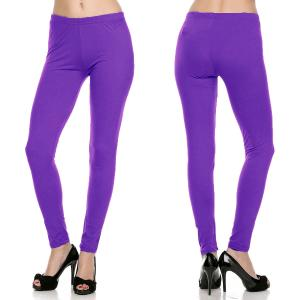 wholesale Brushed Fiber Leggings - Ankle Length Solids SOL0S Purple Brushed Fiber Leggings - Ankle Length Solids - One Size Fits All