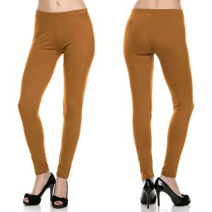 wholesale Brushed Fiber Leggings - Ankle Length Solids SOL0S Mustard Brushed Fiber Leggings - Ankle Length Solids - One Size Fits All