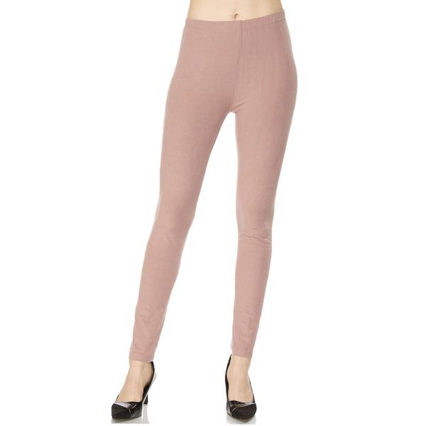Brushed Fiber Leggings - Ankle Length Solids SOL0S Mauve Brushed Fiber Leggings - Ankle Length Solids - Plus Size (XL-2X)