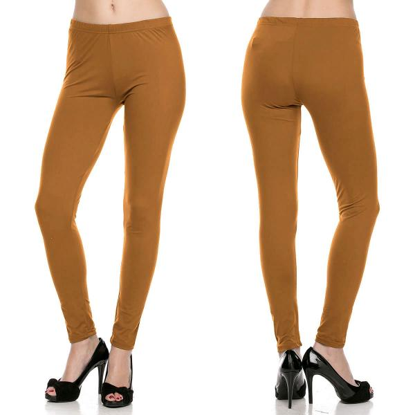 Brushed Fiber Leggings - Ankle Length Solids SOL0S Mustard Brushed Fiber Leggings - Ankle Length Solids - Plus Size (XL-2X)
