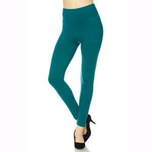 Brushed Fiber Leggings - Ankle Length Solids Dark Teal Brushed Fiber Leggings - Ankle Length Solids - One Size Fits All