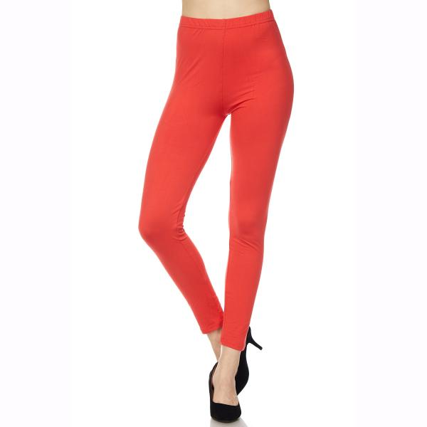 Brushed Fiber Leggings - Ankle Length Solids SOL0S Dark Coral Brushed Fiber Leggings - Ankle Length Solids - One Size Fits All
