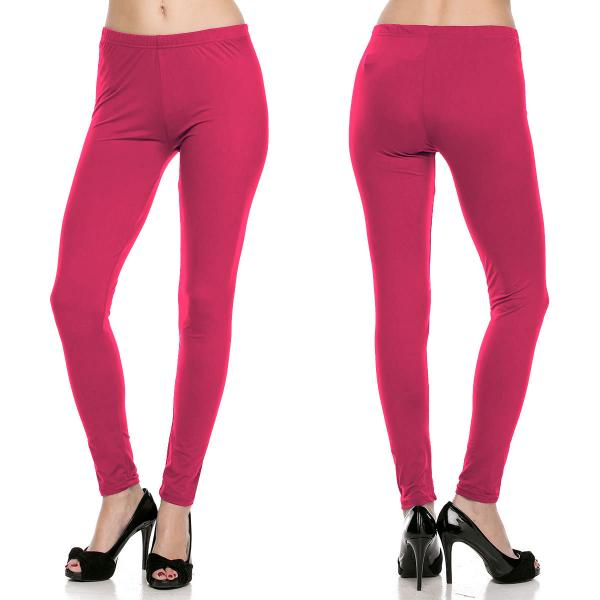 Brushed Fiber Leggings - Ankle Length Solids SOL0S Magenta Brushed Fiber Leggings - Ankle Length Solids - Plus Size (XL-2X)