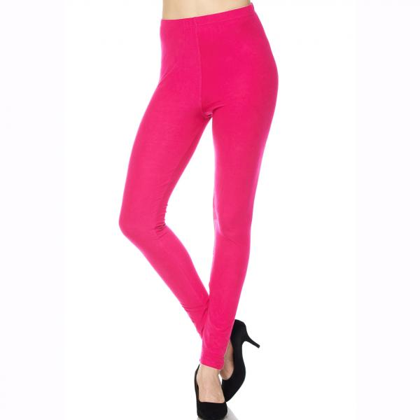 Brushed Fiber Leggings - Ankle Length Solids SOL0S Fuchsia Brushed Fiber Leggings - Ankle Length Solids - Plus Size (XL-2X)