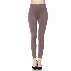Brushed Fiber Leggings - Ankle Length Solids SOL0S Mushroom - Plus Size (XL-2X)