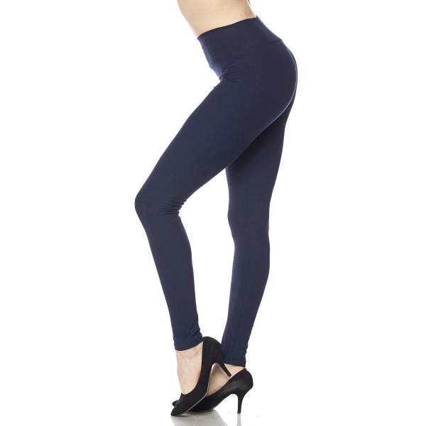 Brushed Fiber Leggings - Ankle Length Solids SOL0S Navy 5 Inch Waistband MB - One Size Fits All