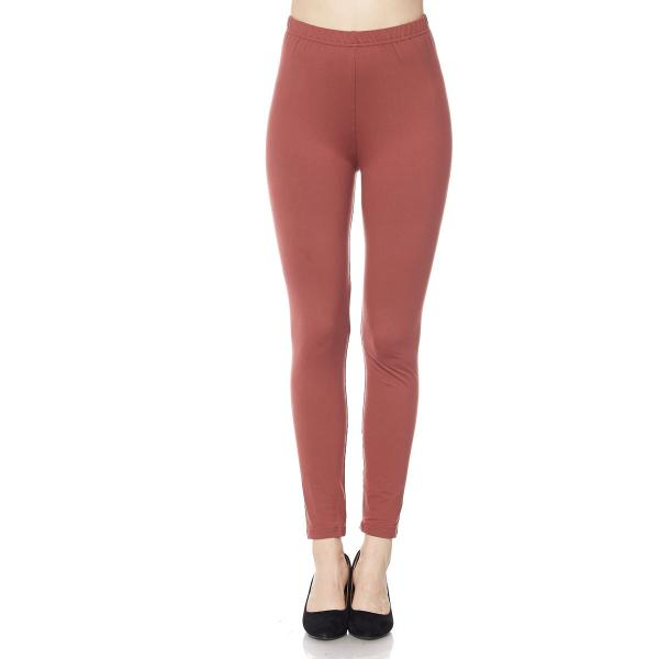 Brushed Fiber Leggings - Ankle Length Solids SOL0S Marsala Brushed Fiber Leggings - Ankle Length Solids - Plus Size (XL-2X)