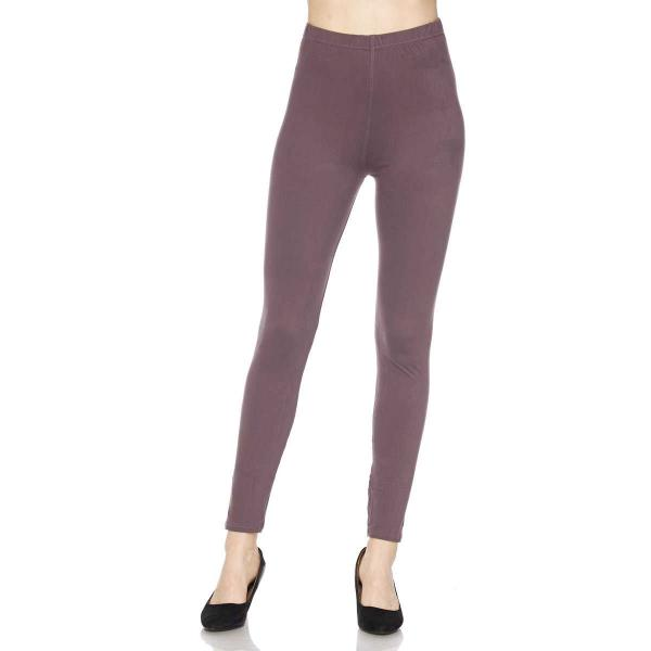 Brushed Fiber Leggings - Ankle Length Solids SOL0S Violet Brushed Fiber Leggings - Ankle Length Solids  - One Size Fits All