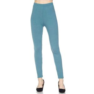 Brushed Fiber Leggings - Ankle Length Solids Sea Blue Brushed Fiber Leggings - Ankle Length Solids - Plus Size (XL-2X)
