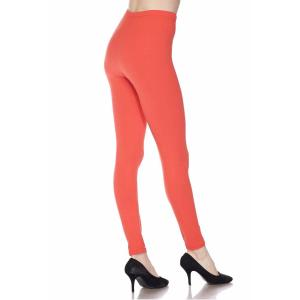 wholesale Brushed Fiber Leggings - Ankle Length Solids SOL0S Coral Brushed Fiber Leggings - Ankle Length Solids - One Size Fits All