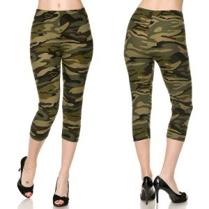 Brushed Fiber Leggings - Capri Length Prints F120 Camouflage - One Size Fits All