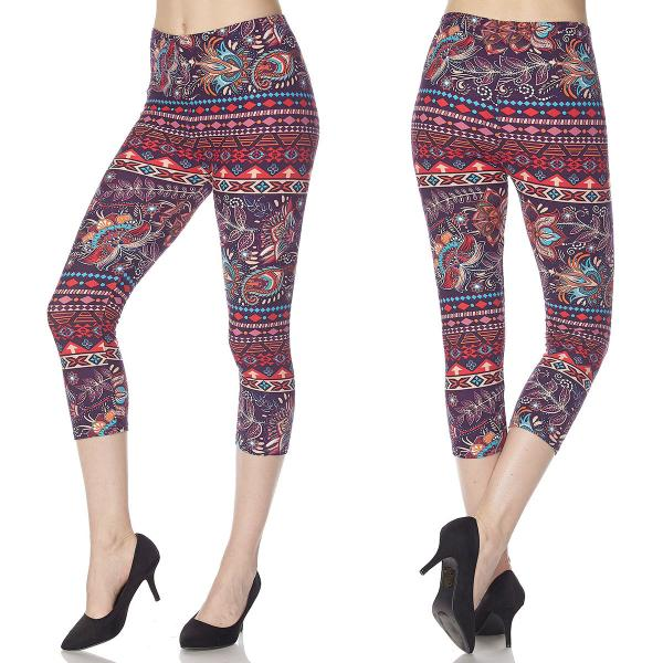 Brushed Fiber Leggings-Capri Length Prints SOL0CP M010 Paisley Feather - One Size Fits All