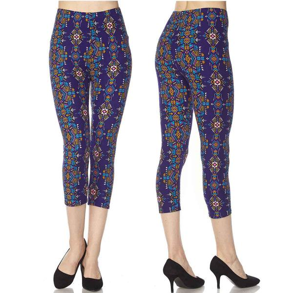 Wholesale Brushed Fiber Leggings-Capri Length Prints SOL0C  N128 Aztec Print  - One Size Fits (S-L)