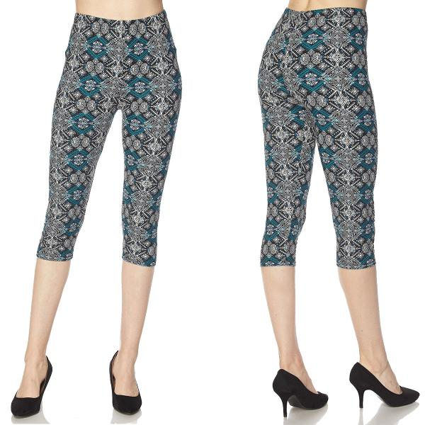 Brushed Fiber Leggings-Capri Length Prints SOL0CP F410 Aztec Tribal Print Brushed Fiber Leggings - Capri Length Print - Plus Size (XL-2X)