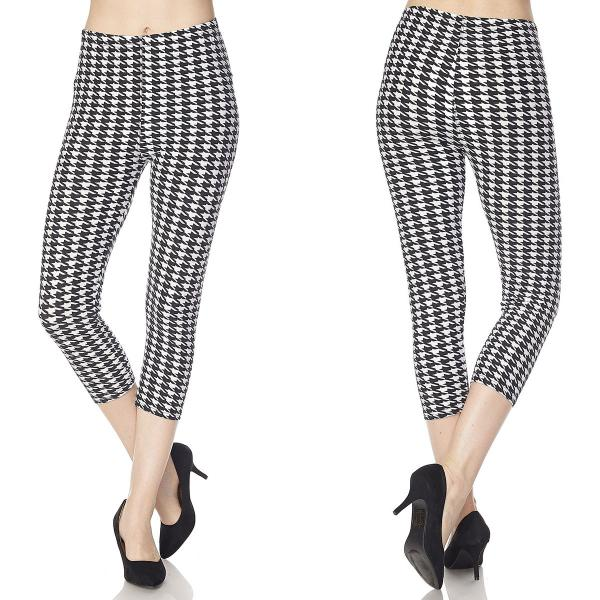 Brushed Fiber Leggings-Capri Length Prints SOL0CP R219 Houndstooth Brushed Fiber Leggings - Capri Length Print - Plus Size (XL-2X)